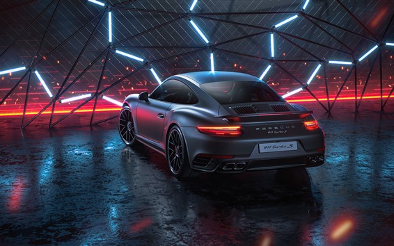 Fond d'écran Vue arrière de la voiture noire de la Porsche 911 Turbo S
