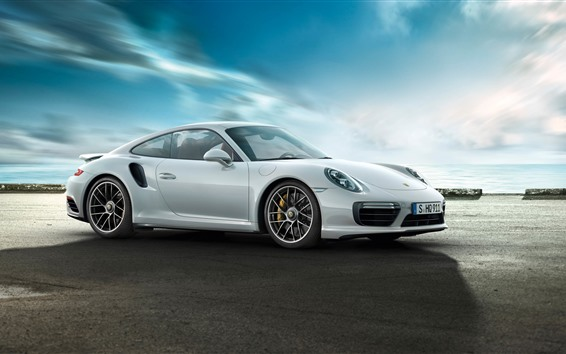 Wallpaper Porsche 911 Turbo white supercar side view