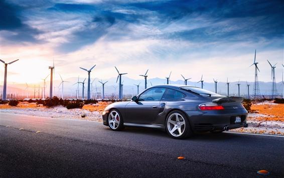 Wallpaper Porsche Turbo car, windmills, road