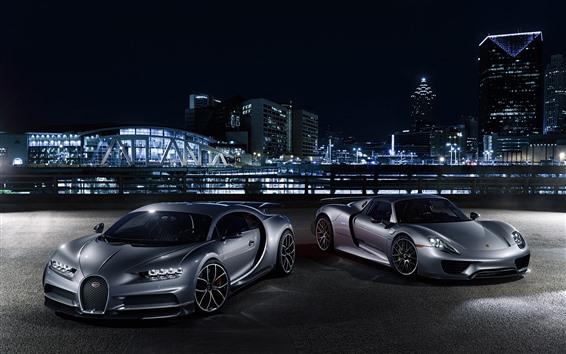 Papéis de Parede Porsche e Bugatti supercar na noite da cidade