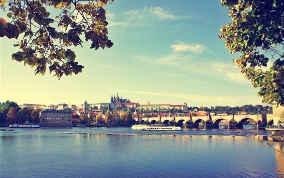 Обои Прага, мост, река, город