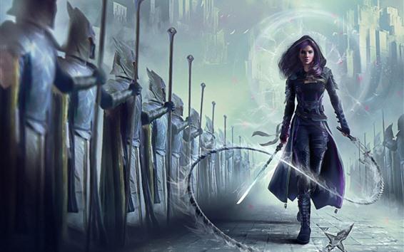 Fondos de pantalla Cabello morado fantasía niña, espada, látigo.