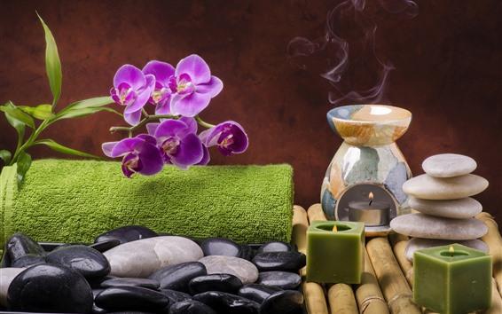 Papéis de Parede Phalaenopsis roxo, pedras, velas, vapor