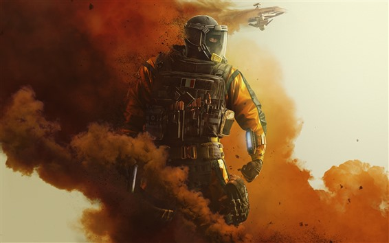 Wallpaper Rainbow Six Siege, soldier, smoke, fighter