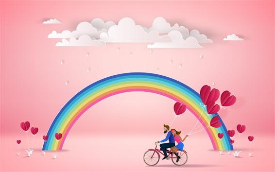 Обои Радуга, облака, влюбленные, любовные сердца, розовый фон
