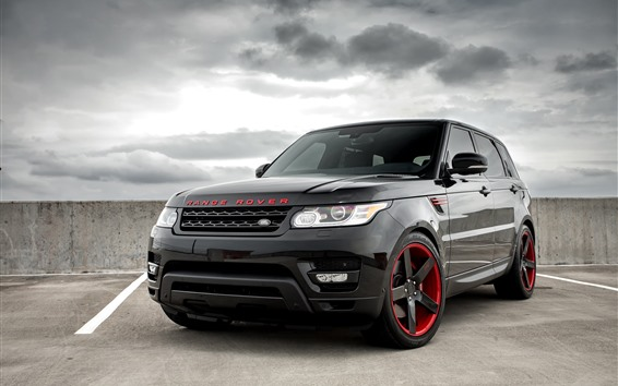 Обои Range Rover черный внедорожник автомобиля вид спереди