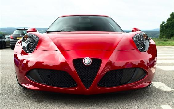 Fondos de pantalla Vista frontal del coche rojo Alfa Romeo