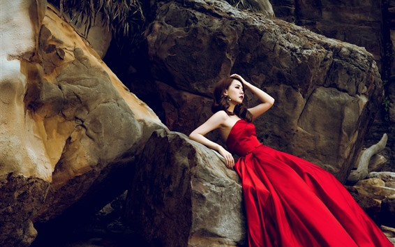 Wallpaper Red skirt Asian girl, rocks, pose