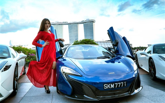 Wallpaper Red skirt girl and blue McLaren supercar