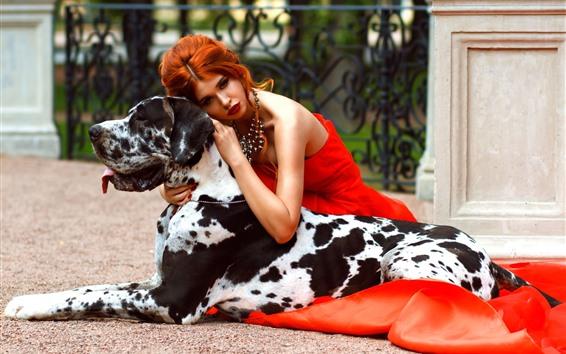 Fondos de pantalla Chica de falda roja y perro