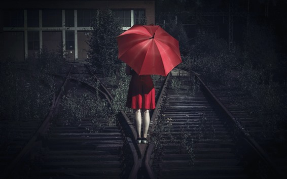 Wallpaper Red skirt girl back view, umbrella, railroad