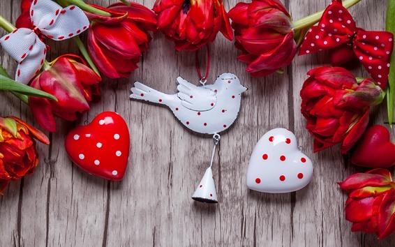 Papéis de Parede Tulipas vermelhas, corações de amor, decoração de aves