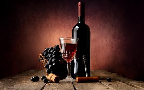 Fondos de pantalla Vino tinto, uvas, botella, vaso de vidrio