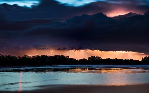 배경 화면 강, 나무, 밤, 번개, 구름