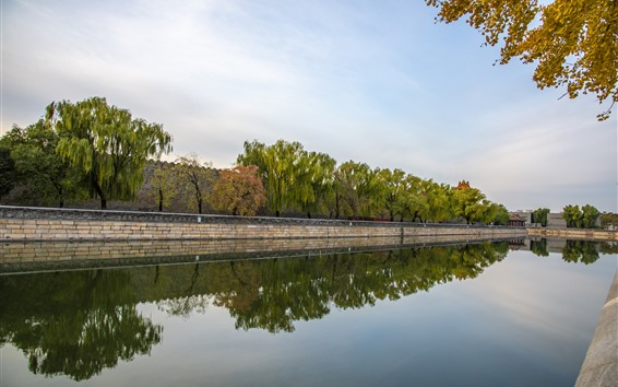 Wallpaper River, water reflection, trees, wall, Beijing, China