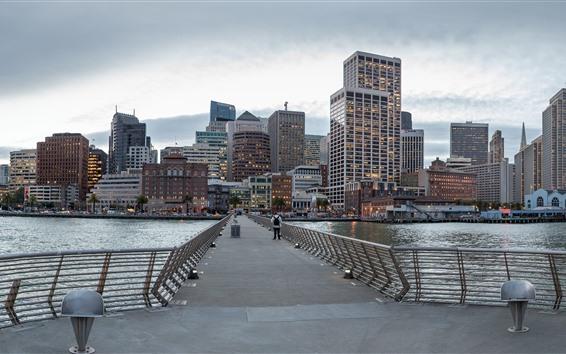Обои Сан-Франциско, Калифорния, США, небоскребы, мост, море, город