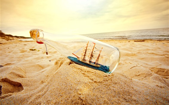Wallpaper Sand, bottle, beach, ship model, sea