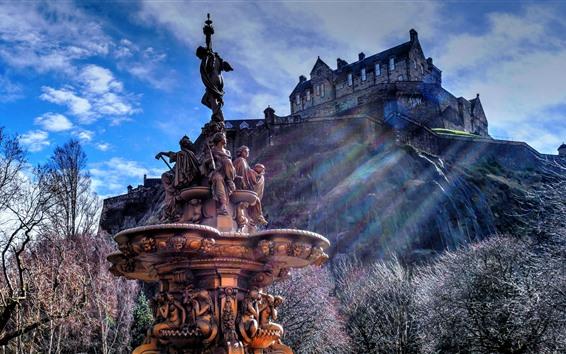 Wallpaper Scotland, Edinburgh, fountain, castle, statue