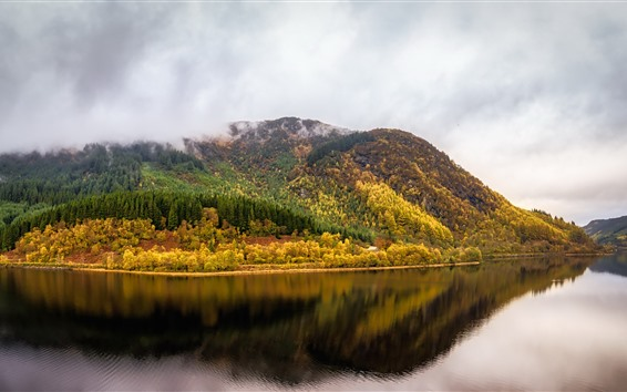 Wallpaper Scotland, United Kingdom, trees, river, water reflection, autumn