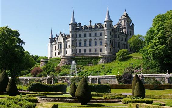 Обои Шотландия, замок, Сад, деревья, фонтан