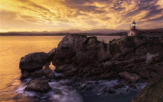 Fondos de pantalla Mar, Costa, rocas, faro, nubes, atardecer