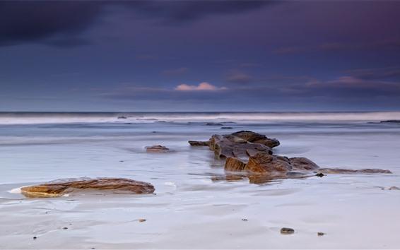 Wallpaper Sea, water, foam, rocks, morning