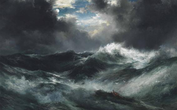 Papéis de Parede Mar, ondas, nuvens, lua, pintura