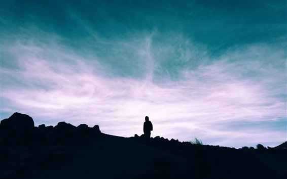 Wallpaper Silhouette, person, sky, clouds