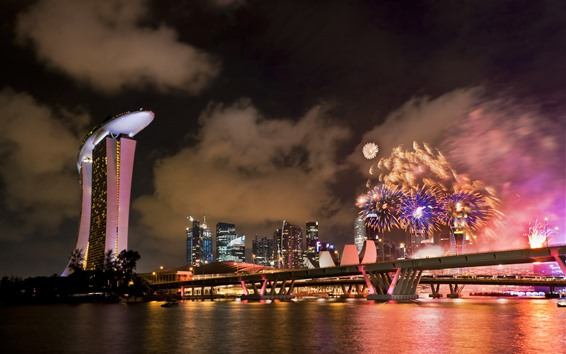 Wallpaper Singapore, fireworks, sea, night, city, holiday