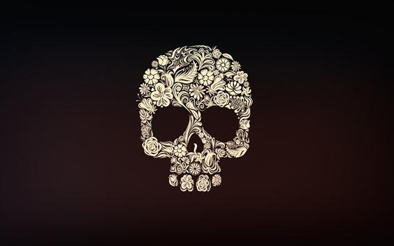 Fondos de pantalla Cráneo, flores, Foto del arte