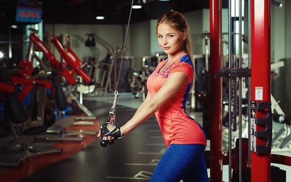 Обои Улыбка блондинка, фитнес, тренажерный зал
