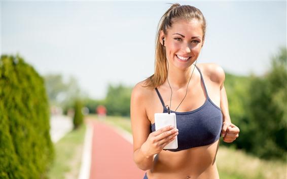 Fondos de pantalla Sonrisa niña, correr, deporte, fitness