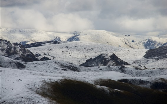Fondos de pantalla Montaña cubierta de nieve, nubes, Tíbet, China