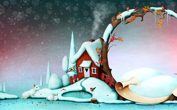 Wallpaper Snow, house, birds, Christmas, creative picture