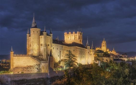 Papéis de Parede Espanha, Alcazar, Segovia, castelo, noite