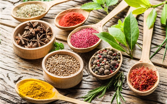 Wallpaper Spices, pepper, anise star, laurel, turmeric, colors, spoons