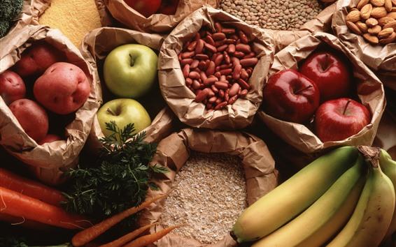 Fond d'écran Nature morte, pommes, bananes, carottes, noix, haricots, pommes de terre