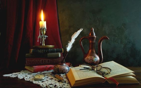 Fondos de pantalla Bodegón, libro, pluma, tetera, gafas, vela, estilo retro