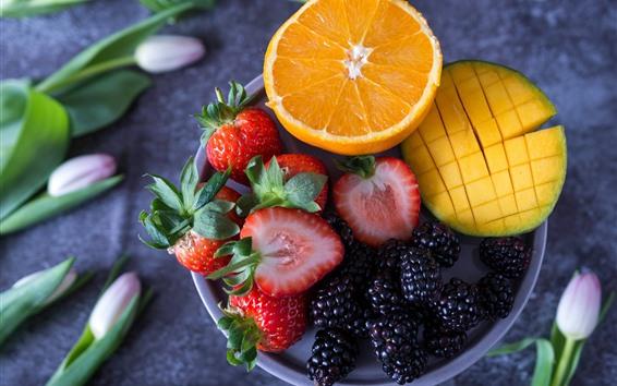 Wallpaper Strawberry, blackberry, orange, mango, fruit, tulips