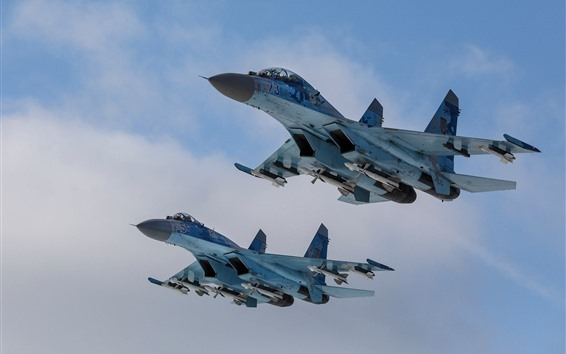Wallpaper Su-27 fighter, flight, sky