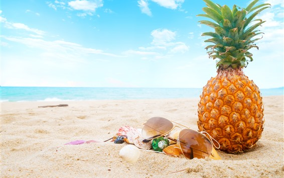 Wallpaper Summer, beach, pineapple, sunglasses, shell