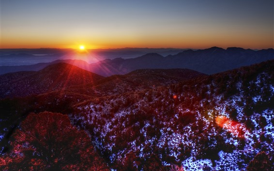 Wallpaper Sunrise, mountains, morning, sun rays