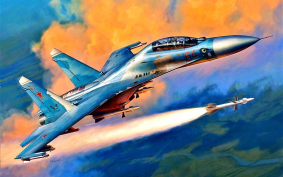 Wallpaper Supersonic fighter, rocket, art picture