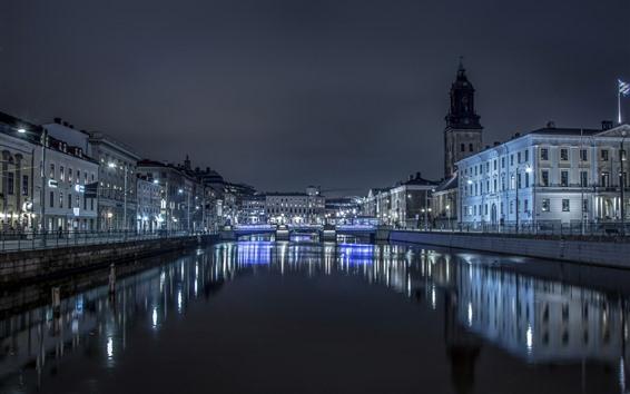 Wallpaper Sweden, Gothenburg, night, river, buildings, illumination