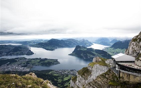 Fondos de pantalla Suiza, Europa, montañas, río, vista superior