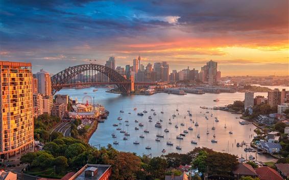 Fondos de pantalla Sydney, Australia, puerto, ciudad, edificios, barcos, Bahía, mañana