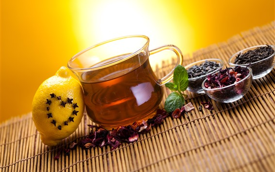 Wallpaper Tea, cup, lemon, dry flowers