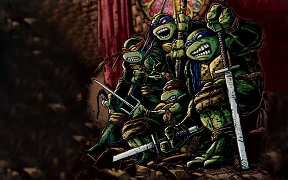 Wallpaper Teenage Mutant Ninja Turtles, classic anime, art picture