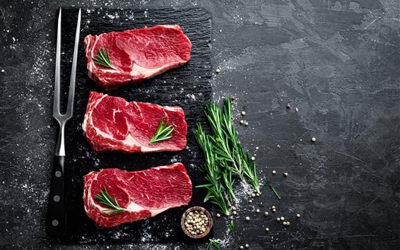 Fondos de pantalla Carne de tres rebanadas, bistec, especias