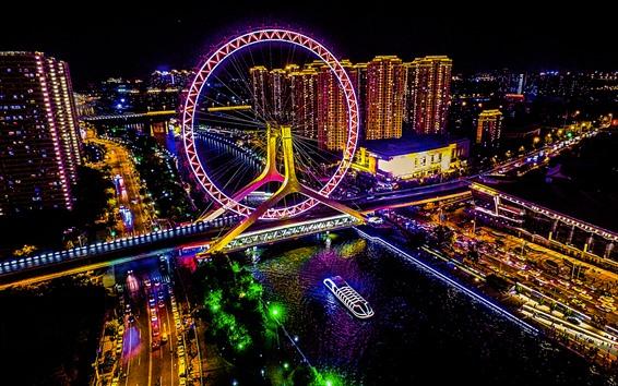 Wallpaper Tianjin, city night, ferris wheel, illumination, art style, China